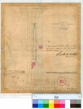 Perth 18/1. Plan of Kingsford Mill premises in Perth Townsite, part of Lot L bounded by St Georges Terrace, Mill & Bazarr Streets by William Phelps, 1859. [scale: 6 chains to an inch, Tally No. 005778].
