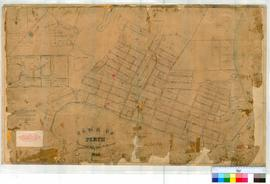 Perth 18E. Plan of Perth Townsite showing Lots & Streets between Melbourne Street, Trafalgar Road & Causeway - position of Lakes Henderson, Irwin Kingsford & Sutherland. A. Hillman, Assistant Surveyor, 1845. J.S. Roe 1834 and M Fox [scale: 6 chains to an inch, Tally No. 005757].