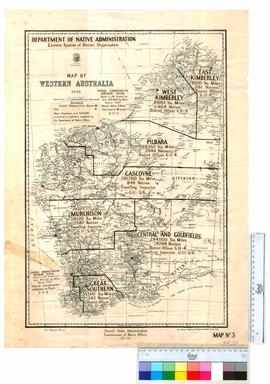 Map of Western Australia, 1948, showing Native Administration District Organisation.