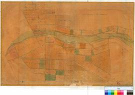 York 13. Plan of Townsite of York (OP) showing Lots bounded by Georgina Street & Cemetery Road and Brook Street & Cowan Road (Mile and Bland's Pools shown) [Unsigned and undated, scale: 4 chains to an inch].