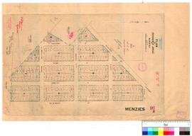 Menzies 91/2. Plan of Residence Areas at Menzies, showing hospital reserve (see G. D. Robinsons Fieldbook 32 & telegraph line to Niagara by G.D. Robinson of 1896, also later additions of altered Lot Nos [scale: 200 links to an inch].