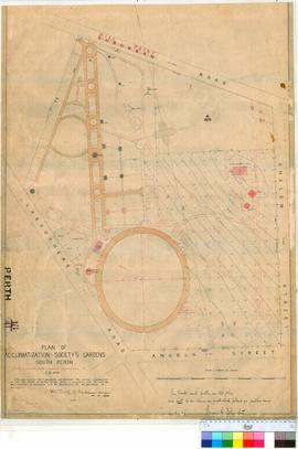 Perth 18/41. Plan of Acclimatization Society's Gardens, South Perth (Perth Zoo) bounded by Labouchere & Mill Point Roads & Onslow & Angelo Streets [scale: 1 chain to an inch].