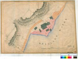 Perth 18/36. Plan showing Swan Brewery, Perth with cottages, sheds and stable (including location of Well in 1838) noted within Lot L69 [scale: 50 links to an inch, Tally No. 005456].