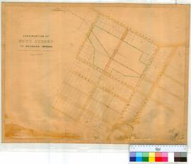 Perth 18S1. Plan of Perth Townsite, continuation of Hutt Street to Brisbane Street by A.C. Gregory, June 1854. [scale: 3 chains to an inch, Tally No. 005771].