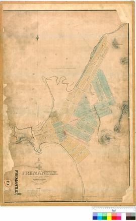 Fremantle 19. Part of Fremantle showing some additional allotments shaded blue which are submitted by the Surveyor General for approval of the Lieutenant Governor. W. K. Shenton [scale: 2 chains to 1 inch].