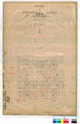 "South Boulder 237. Plan of South Boulder residence areas showing ""F"" Lots 1-190 and Res..."