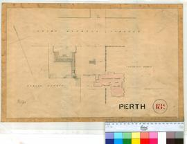 Perth 18/4. Plan of Government House, Guard House & Public Offices in St Georges Terrace, Perth by W. Phelps [undated, no scale, Tally No. 005781].