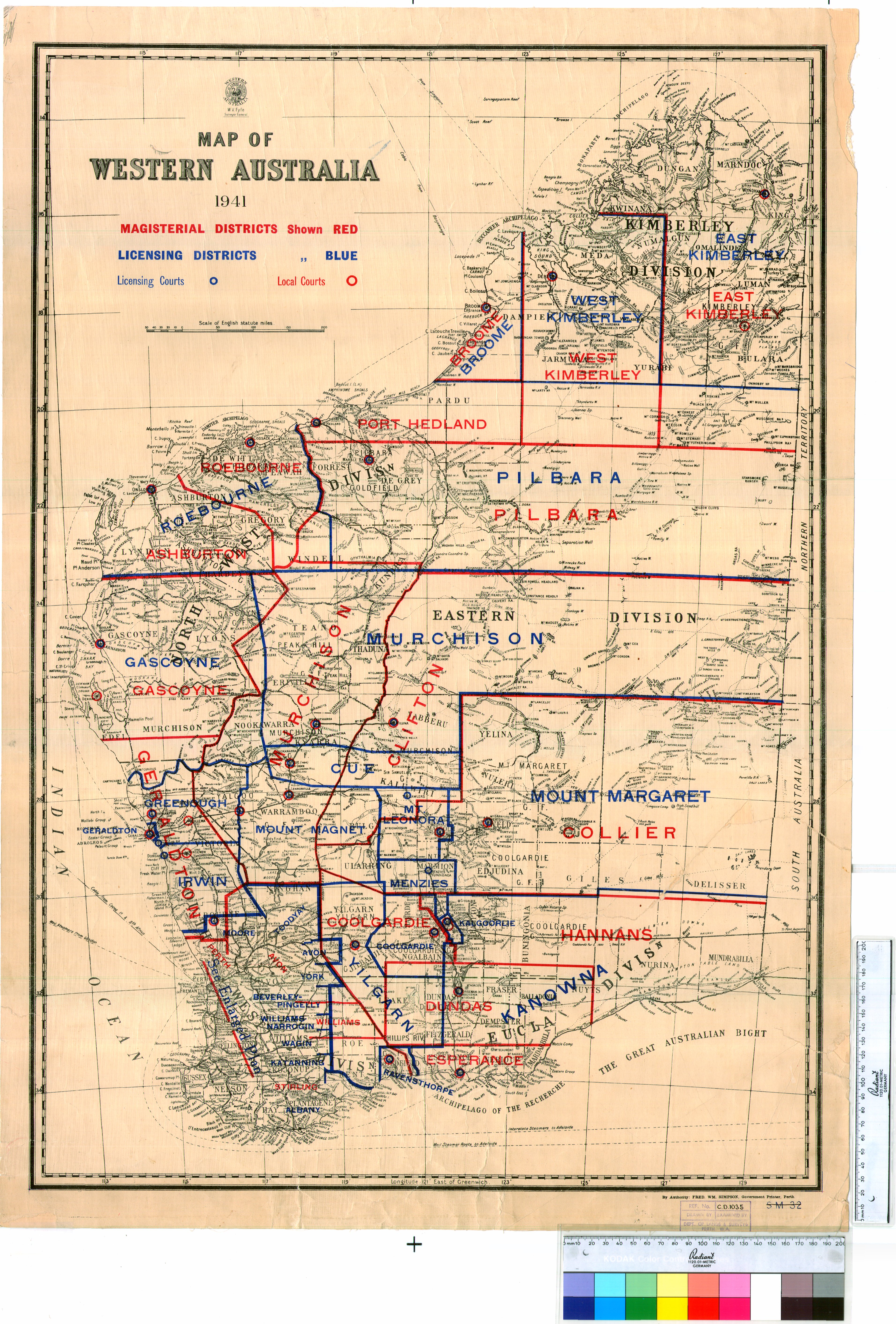 Map Of Australia 1700.Map Of Western Australia 1941 Magisterial And Licensing Districts