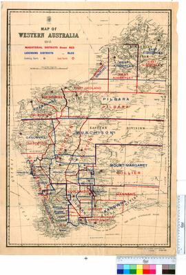 Map of Western Australia 1941 - Magisterial and licensing districts.
