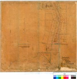 Bridgetown 26/1. Mounted tracing of Bridgetown, rough plan of Townsite as laid out on the Blackwo...