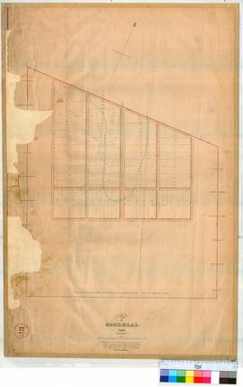 Perth 18/22. Plan of Village of Goolelal showing Lots 1-60 by A. Hillman [scale: 4 chains to an inch, Tally No. 005467 + 005784D].