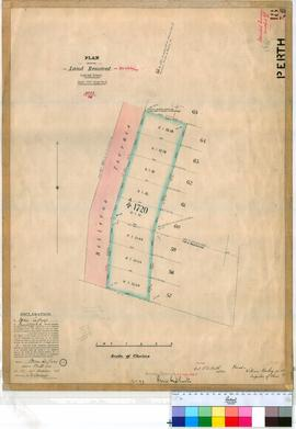 Perth 18/35. Plan of land resumed in Perth, part of Reserve 1720 facing Bellevue Terrace, see Government Gazette 18/09/1896/1561 [scale: 1 chain to an inch, Tally No. 005455].
