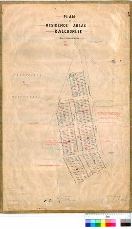 Kalgoorlie 77/20. Plan of residence areas, Kalgoorlie (Lots 1095 to 1203, West of Salisbury Road). R. Gledden [scale: 2 chains to an inch].
