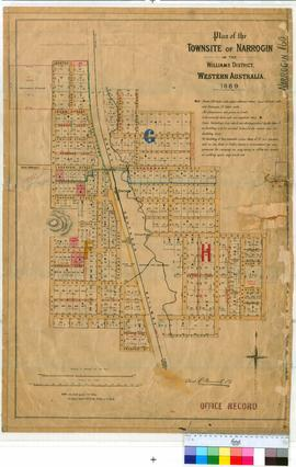 Narrogin 160. Plan of Narrogin Townsite showing Streets, watercourse, Narrogin Pool, Great Southe...