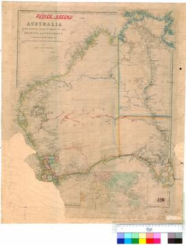 Australia from surveys made by Order of the British Government (et alia), John Arrowsmith, London, 1862 [Office record with explorer's routes marked to 1874].