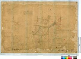 Locations as marked by C. Evans, Fieldbook 2, 1861 and J. Cowle, 1871 [scale: 6 chains to an inch...