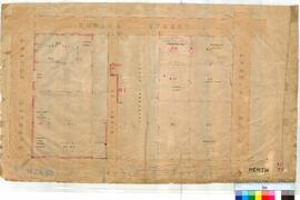 Perth 18/29. Plan of Perth Townsite showing Lots B1, B4, B8, B9, B14, B15 Old St Georges Cathedral & Close, Sunday School, Deanery, Mechanics Institute, Fremasons Hall (Mines Dept). [unsigned/undated, scale: 3 chains to an inch].