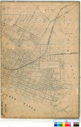 Perth 18/30. Plan of East Perth bounded by Walcott Street, Adelaide Terrace & Swan River showing Town Lots. [undated/unsigned, scale: 5 chains to an inch].