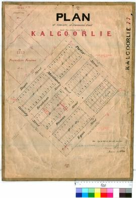Kalgoorlie 77. Plan of Hannans Find (later changed to Kalgoorlie) Lots 1 to 110. G. Claude Hamilt...