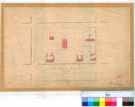 Perth 18/6. Plan showing Lots B1 -B4 & B7-B9 (Hospital, St Georges Church, Barracks Officers Quarters & Jail shown. [scale: 1 chain to an inch, Tally No. 005783].
