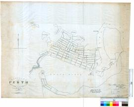 Tracing of 1838 plan of Perth Townsite.