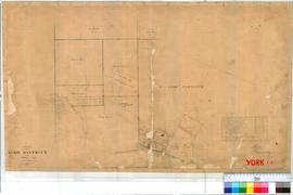 York 14D. Plan of part of York Townsite showing Lots 1-12, A1, A2, U, V, Y, W & Y19 (Girls School & Mechanics Institute noted) by A. Hillman and R. Ray [scale: 4 chains to an inch, Tally No. 005904].