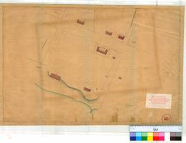 Perth 18/5. Plan of Public Buildings in Perth (Commissariat, Court House, Public Offices, Barracks on St Georges Tce & Pier Street). [unsigned, undated] [scale: 1 chain to an inch, Tally No. 005782].