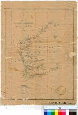 Map of Western Australia showing explorer's routes to 1872. Litho E.C. Dean.