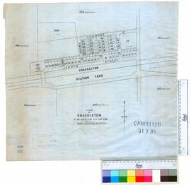 Plan of Shackleton, part of Kwolyin Agricultural Area Lot 224 [scale: 3 chains to 1 inch].