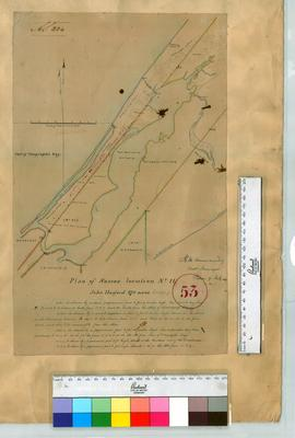 Blackwood River, Locations 25 & 40 by C. Carey [scale: 8 chains to an inch] Sussex Location 11 - John Hurford - by H.M. Ommanney. Plan of land for Barrack-ground at Wonnerup by H.M. Ommanney [scale: 3 chains to an inch].