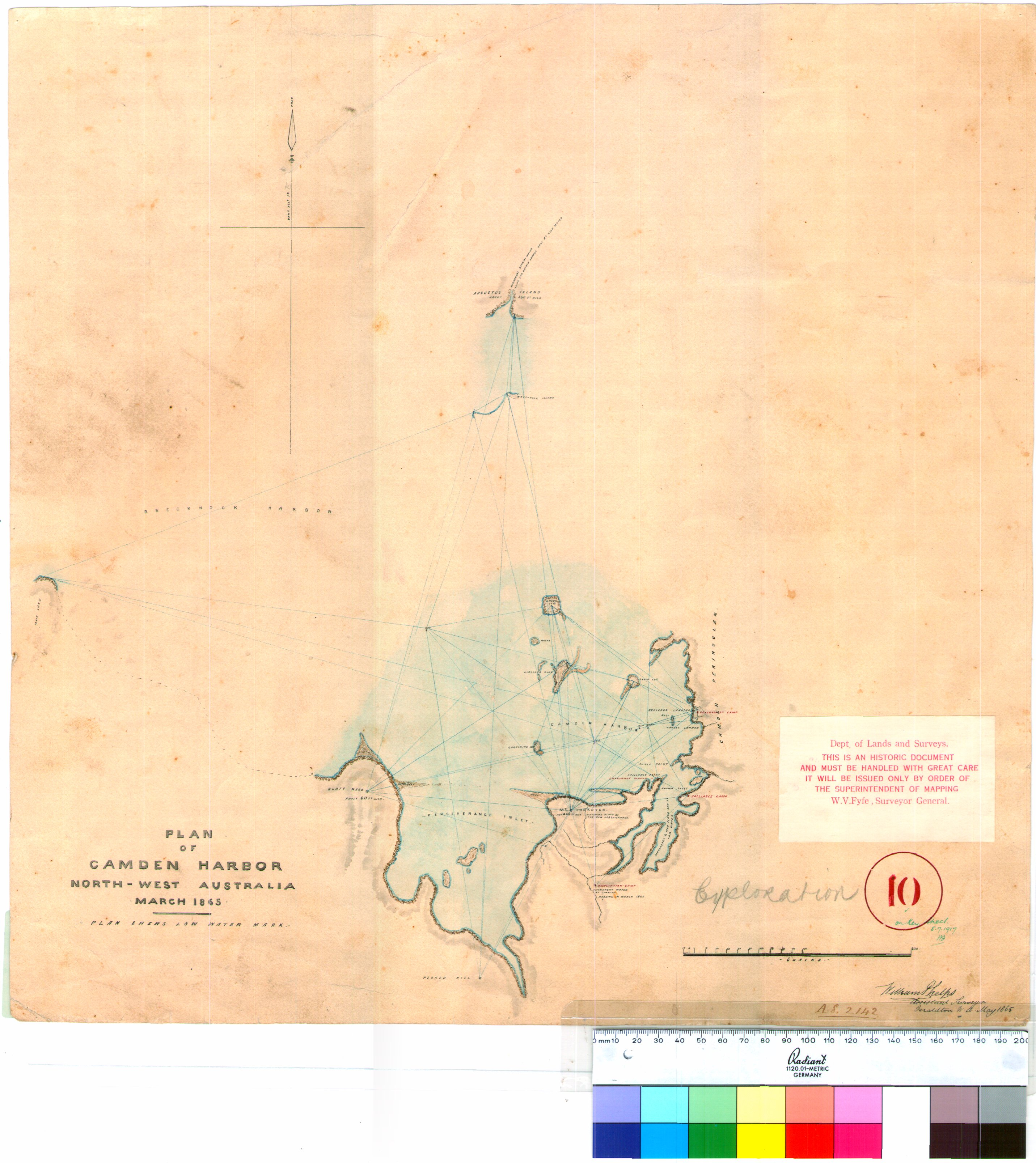 Map Of North West Australia.Map Of Camden Harbour North West Australia March 1865 William