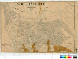 Perth 18/65. Plan of South Perth (supercedes Map 18/60) showing Lots & Streets. Bounded by Melville Water, Perth Water, Comer Street & Road to Albany [scale: 6 chains to an inch].