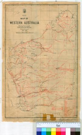 Map of Western Australia showing the principal exploration routes between 1836-1903. Photolitho.