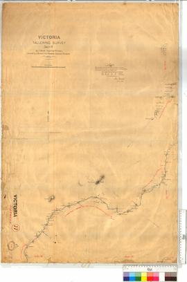 "Tallering Survey of the Greenough River, sheet 4, Tallering Peak, J. Forrest Fieldbook 14, and traverse ""Yimba to Indinidie"" [scale: 80 chains to an inch]."