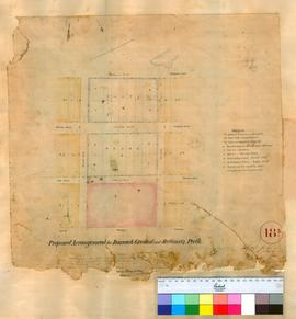 Perth 18/3. Plan of proposed arrangement for Barrack Ground & Sections Q, Perth Townsite between Barrack Street & Pier Street (unsigned). [scale: 2 chains to an inch, Tally No. 005780].
