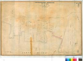 Perth 18/68. Plan of Metropolitan Sewerage, City of Perth, showing Bond Stores, Boat Sheds, Cement Store & various offices facing Bazaar Terrace & Perth Water [scale: 40 feet to an inch, Tally No. 005791].