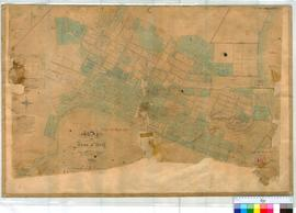 Perth 18F. Copy of Plan of Perth Townsite Map 18E (see Map 18E for details) added notation of Fieldbook 2 p. 9 by W. Phelps, 1859-60 [scale: 6 chains to inch, Tally No. 005728].