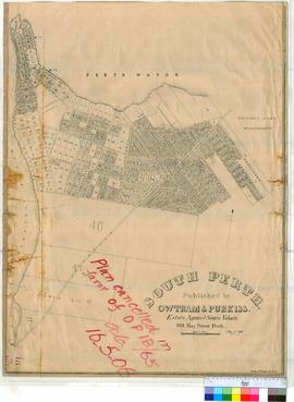 Perth 18/60. Plan of South Perth showing Lots & Streets (subdivision of Portions 38a, 38b, 39 & 308) Bounded by Melville Water, Perth Water, South Tce & Gwenyfred Rd. [scale: 8 chains to an inch].