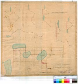 Perth 18LI. Plan of part of Perth Townsite - Lots shown by black lines & Numbers 76-144 marked out by William Phelps, August 1858 [Fieldbook ?] and Section along Streets & through allotments shown with heights in vicinity of Lake Poulett, 2nd lake and 3rd lake [scale: 4 chains to an inch].
