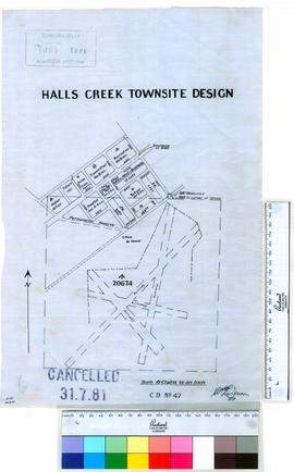 Halls Creek Townsite design [scale: 10 chains to an inch].