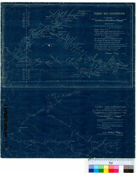 M. Terry - 1933 Expedition (Central Australia) also Key plan to heights above sea level. Compiled by Waite Institute, Adelaide, 1933.