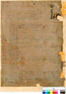 Boulder 107/1. Plan of residence areas at Boulder, E. Manning [scale: 4 chains to 1 inch].