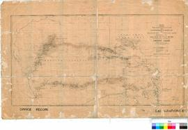 E. Giles - Map showing the route travelled and discoveries made by the Exploring Expeditions - un...