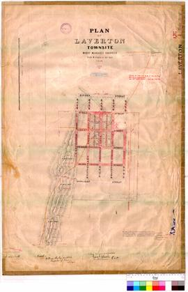 Laverton 176/1. Plan Laverton Townsite, Mt Margaret Goldfield showing Lots bounded by Brook &...