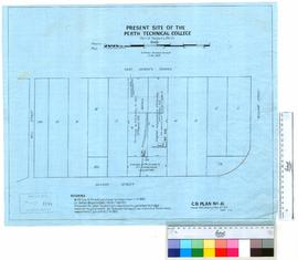 Tracing of original buildings on Perth Technical School site, St George's Terrace in 1848. S...