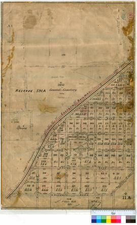 Perth 18/25. Plan of West Perth (Subiaco & Shenton Park) showing Lots & Roads bounded by Eastern Railway Line, Barker, Hensman & Aberdare Roads [scale: 4 chains to an inch, Tally No. 005449].