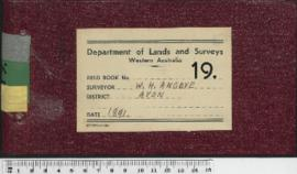 Field Book No. 19. W.H. Angove. Avon