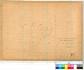 Perth 18T. Plan of Public Highway between Moore & Water Streets in Perth Townsite by A.C. Gregory, June 1854. [scale: 1 chain to an inch Tally No. 005772].