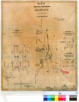 Roebourne 3D. Plan showing Survey of Town Lots and boundary in Roebourne Townsite. Lots 197-258 s...