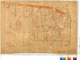 Survey of Locations 7396-98, 7416, 7436 & 7438 with roads (vicinity of Harrismith Townsite & rabbit proof fence) by J.H. Breen [scale: 20 chains to an inch].